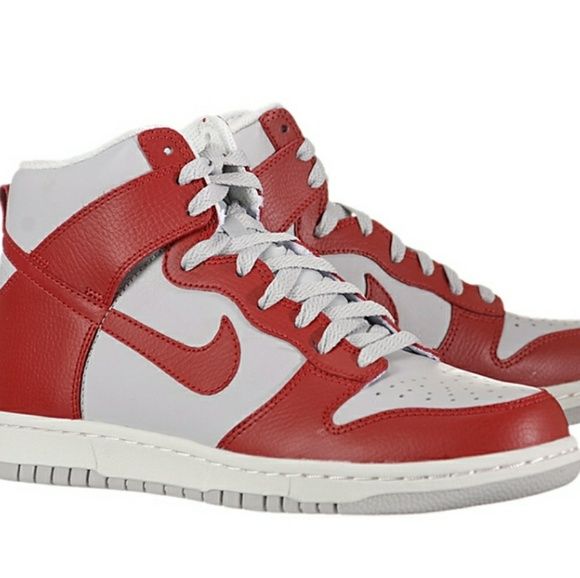womens red and white nike dunks high
